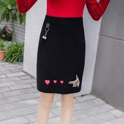タイトスカート 刺繍 スリム ハート柄 韓国風 r3000333