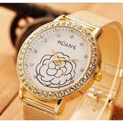 【即納771425】 新作 カメリア クリスタル ラインストーン付 エレガント レディース腕時計 ウォッチ