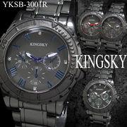 【選べるケース有or無】  腕時計 アラビア文字 男性用 ブラック メタルバンド ウォッチ◇YKSB-3001R
