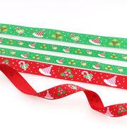 グログランリボン 2サイズ クリスマス サタンハット ヤドリギ 杖 赤 緑 ラッピング インテリア 飾り