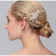 おしゃれ真珠パール付きウェディング ヘアアクセサリー - ヘアピン ヘアアクセサリー ピン留め   全1色