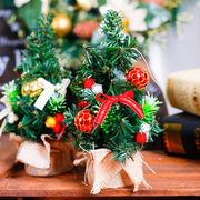 小さなクリスマスツリー 21cm/掌サイズ インテリア並べても可愛いミニサイズ/ モミの木 リボン 2種