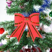 クリスマスオーナメント大きなリボン /きらきらグリッター 赤いりぼん 飾り ツリー 装飾 インテリア