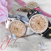 【選べるケース有or無♪】◇腕時計 ジルコニア カットグラス 革バンド レディース◇YT-9028