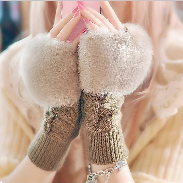 手袋 ショート ミディアム 指穴 ファー ニット グローブ レディース