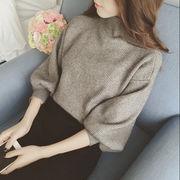 【人気売れ筋 秋冬】レディース ボトルネック バルーン袖  ニット セーター