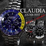 【選べるケース有or無】 CLAUDIA 腕時計 男性用 ブラックメタル メタルバンド ウォッチ◇CLAB-1033