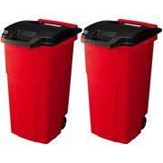 リス ゴミ箱 キャスターペール2輪 90C2 (90L) レッド 2個セット