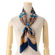 【スカーフ】レオパード&チェーン柄スクエアイタリー製スカーフ
