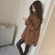 【人気売れ筋 秋冬】レディース  ゆったり チュニック  ニット セーター 体型カバー