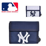 NY かっこいい財布 マジックテープ ストラップ ニューヨークヤンキース 横型ウォレット 3つ折り【NY-001】