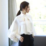 長袖シャツ ゆったり ゆる パフスリーブ ボリューム袖 シフォン 純色 シンプル 全2色 #200050