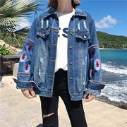 Gジャン デニムジャケット スリム 刺繍 ボリューム袖 純色 韓国風 ファッション #200189