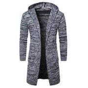 秋冬メンズセーター フード付けトップス(カットソー) ロングセーター♪グレー/ブラック2色