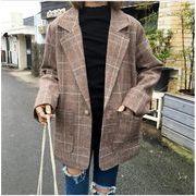 レディースアウター カーディガン コート ベーシックジャケット チェック柄 人気 着痩せ ファッション