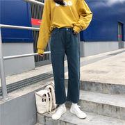ハイウエスト アンティーク調 女性のジーンズ 学生 韓国風 冬 ルース 着やせ レジャー