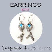 ピアス / 6-131  ◆ Silver925 シルバー ピアス イーグル&フェザー ターコイズ