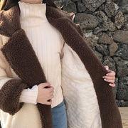 冬 韓国風 ルース 何でも似合う 中長デザイン 手厚い 子羊ウール 手厚い ラペル カー