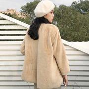 韓国風 風 何でも似合う ふわふわ ルース 着やせ 手厚い 暖かい 長袖 カーディガン