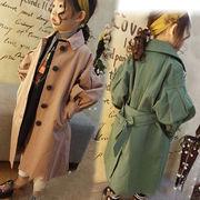春服 新しいデザイン 韓国風 女児 パフ 小さなラペル ウエスト ひもあり 中長デザイン