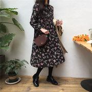 秋と冬 新しいデザイン 韓国風 アンティーク調 何でも似合う リボン ひもあり ワンピー