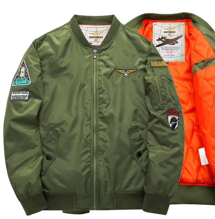 メンズ おしゃれ MA-1タイプ ブルゾン 中綿ジャケット ワッペン付き フライトジャケット メンズ