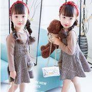 春・秋冬 子供服 ワンピース+tシャツ 女の子 2点セット ファッション チェック