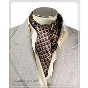 エレガント袋縫い幾何学柄メンズ用100%シルクスカーフ 10129a