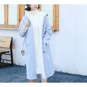 コート 裏起毛 無地 フード付き シンプル ゆったり 全3色 r3001919