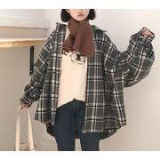 シャツ ブラウス ゆったり ボリューム袖 チェック柄 韓国風 プレッピースタイル 全2色 r3001890