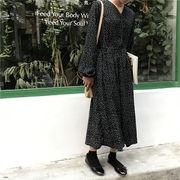 ポルカドット 長袖 フリル ワンピース 女子学生 韓国風 ルース スウィート ロングス