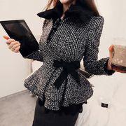 コート フリル リボン付き モコモコ 毛襟 韓国風 スリム #709668