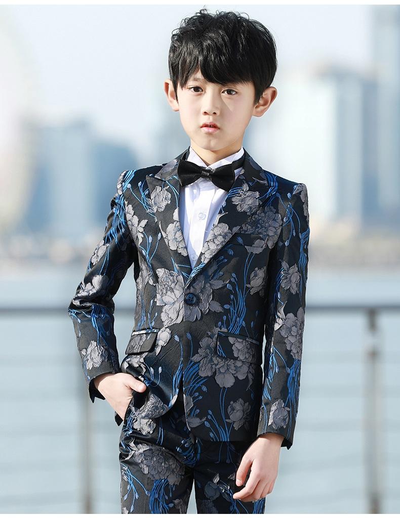 15559de892f48 2018 韓国スタイル 出演 入学式 フォーマルスーツ 5点セットキッズ 花柄 子供スーツ 男の子 卒業式 成人式