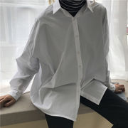 春 韓国風 長袖シャツ 女 ルース 単一色 ベーシックデザイン レジャー 何でも似合う