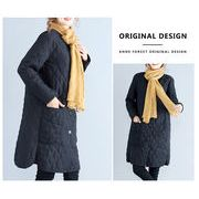 即納あり【お得なセット販売あり】中綿キルティング ノーカラーコート 大きいサイズ秋冬コート