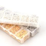 7サイズセット 二重丸カン 選べる3色 ケース付き リング ハンドメイド DIY 基礎金具 部品 材料