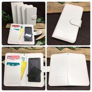 ★手帳型スマホケース(光沢/白色)★360回転スライド式 多機種対応★【5サイズ】4-6インチ