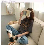 春 女性服 新しいデザイン 韓国風 ルース 何でも似合う 丸襟 ヘッジ レターズ プリン