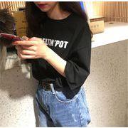 春 新しいデザイン 韓国風 ルース 丸襟 何でも似合う レターズ 半袖Tシャツ 女子学生