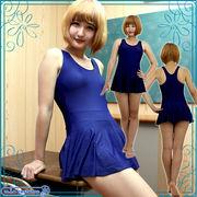 ■送料無料■パッド付きの本物スカート付きスクール水着 色:紺 サイズ:M/L/XL/XXL