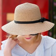 ビーチ麦わら帽子 男女共つば広 UV対策 夏 麦藁帽子 オシャレにUV対策!UVカット!