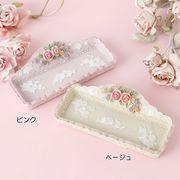 ローズ小物トレー(ピンク/ベージュ)