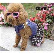 一部即納 キュート犬服 デニム ワンピース ドッグウェア 犬 ペット ペット用品(S-XL)