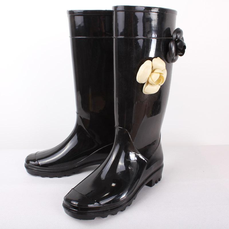 ロングブーツ レディース 雨靴 長靴 レインブーツ カメリア 防水 梅雨 アウトドア 花 野外