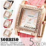 正規品SORRISOソリッソ ベゼルにラインストーンを散りばめたスクエアケース腕時計 SRHI6 レディース腕時計