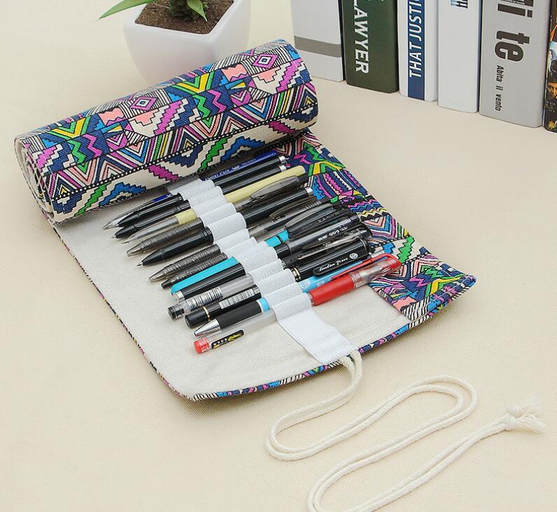 ロールペンケース エスニック風 民族調 大容量 ペンケース キャンバス 道具入れ 筆箱