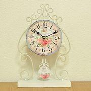 【セール】ローズ柄クラシック調置時計