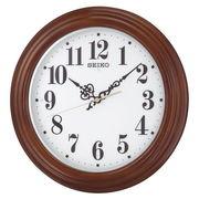 SEIKO セイコー 掛け時計 自動点灯 電波 アナログ 夜でも見える 木枠 茶木地 KX228B