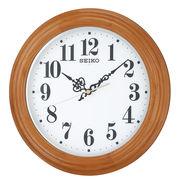 SEIKO セイコー 掛け時計 自動点灯 電波 アナログ 夜でも見える 木枠 薄茶木地 KX228A