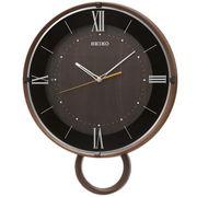 SEIKO セイコー 掛け時計 電波 アナログ 飾り振り子 濃茶木目模様 PH206B